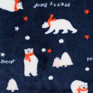 Велсофт двухсторонний синий, белые мишки в красных шарфиках, ш.185