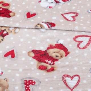 Велсофт двухсторонний бежевый, мишки в шарфиках, ш.190