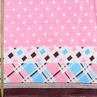 Велсофт двухсторонний розовый в белый горох, кайма в клетку, 2ст.купон, ш.175