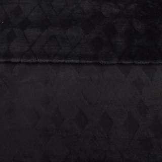 Велсофт двухсторонний черный с тиснением ромбы, ш.220