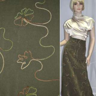 замша св.болотная с настроч.цветами шир.150 см