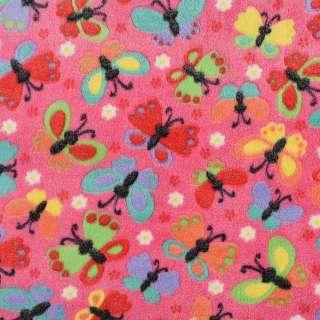 Велсофт рельефный розовый в разноцветные бабочки, ш.145