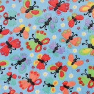 Велсофт рельефный голубой в разноцветные бабочки, ш.145