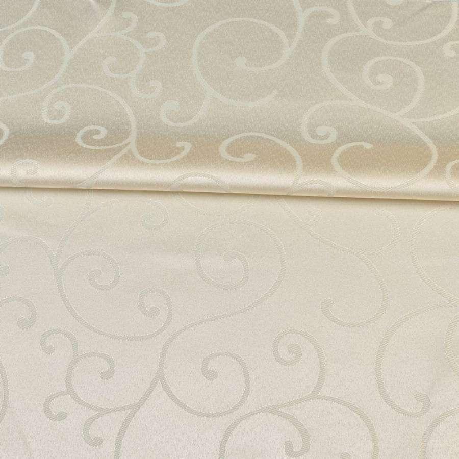 Жаккард скатертный завитки молочный, ш.320