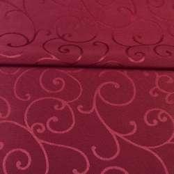 Жаккард скатертный завитки бордовый, ш.320