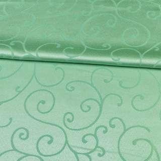 жаккард скатертный завитки зеленый светлый, ш.320
