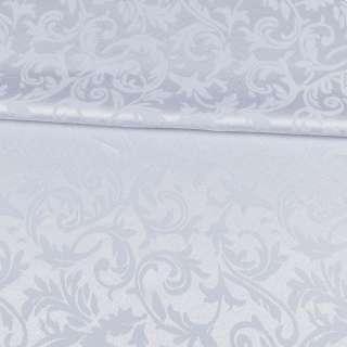 жаккард скатертный листья и завитки белый, ш.320