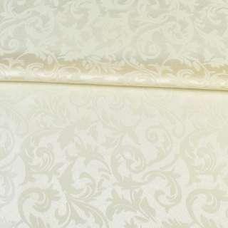 жаккард скатертный листья и завитки кремовый, ш.320
