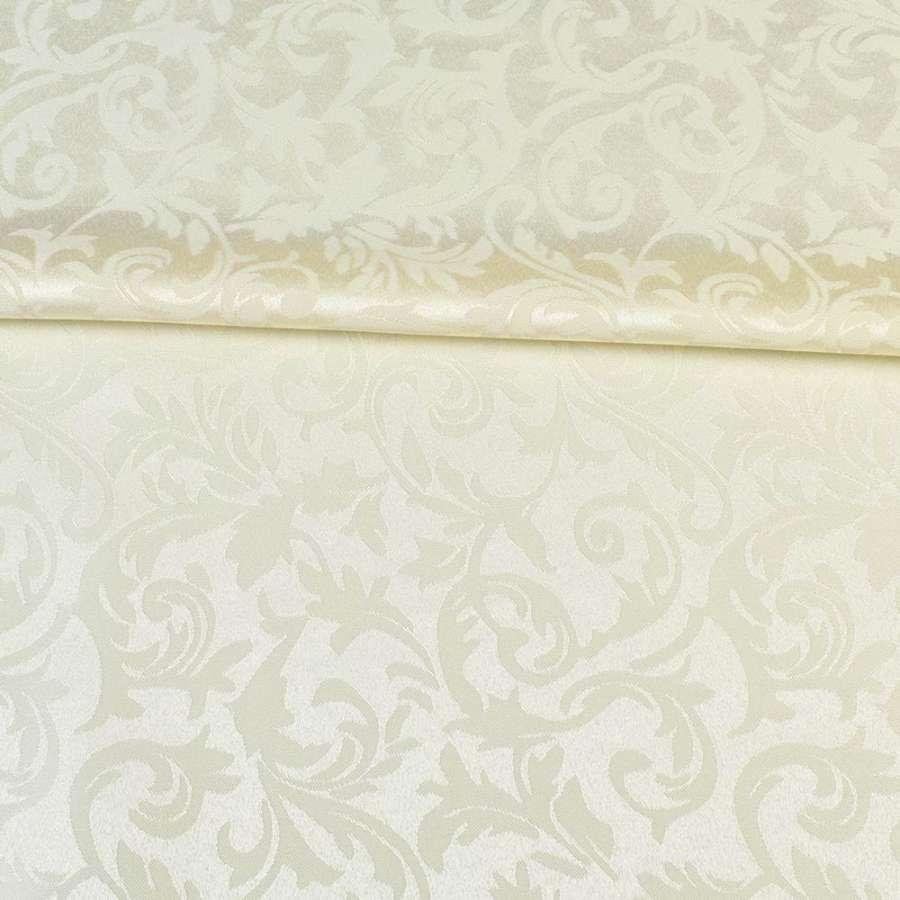 Жаккард скатертный листья и завитки молочный, ш.320