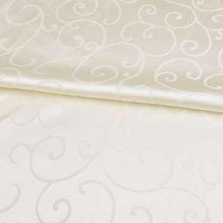 жаккард скатертный завитки кремовый светлый, ш.320