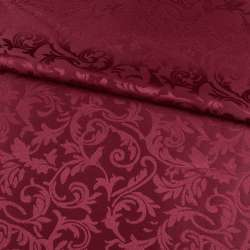 Жаккард скатертный листья и завитки бордовый, ш.320