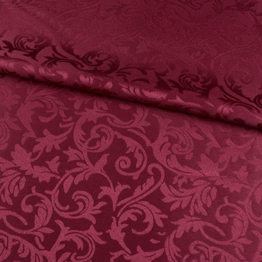 Жаккард скатерковий листя і завитки бордовий, ш.320