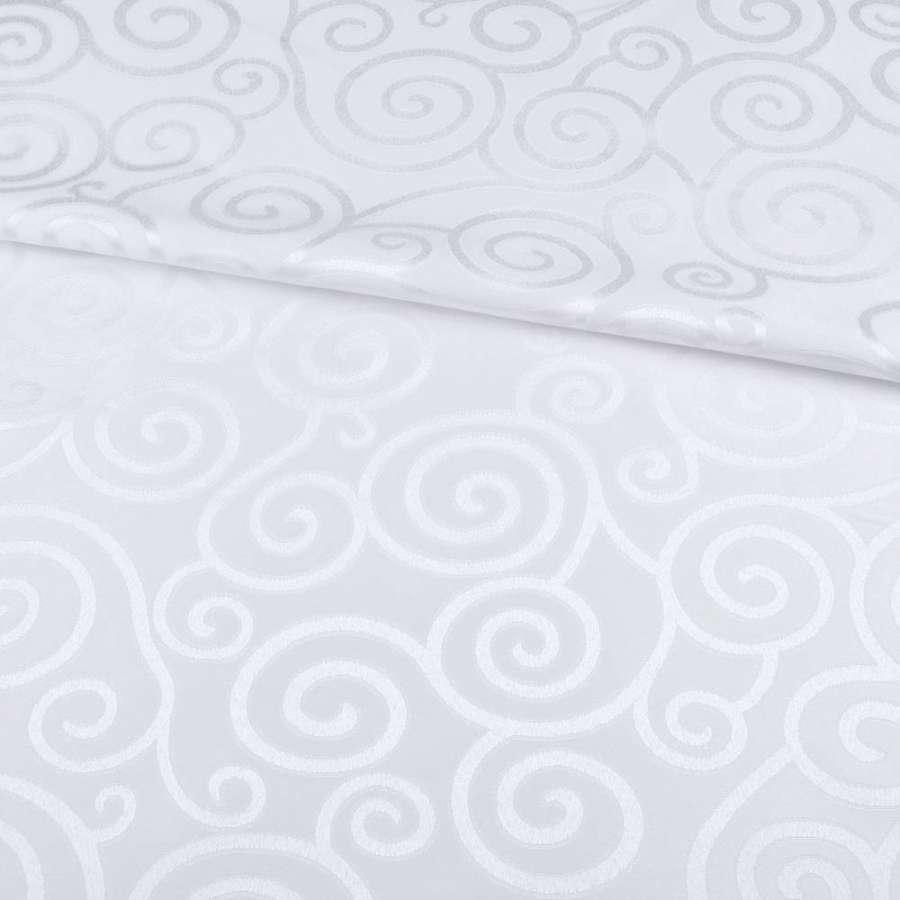 Жаккард скатертный спиральные завитки белый, ш.320