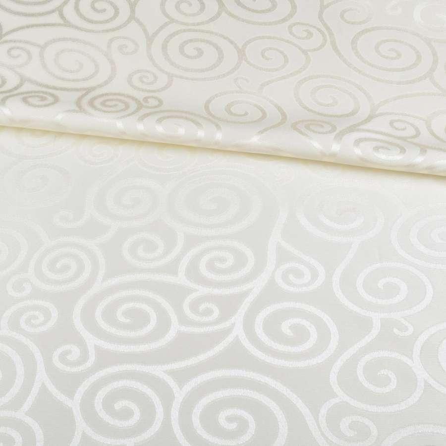 Жаккард скатертный спиральные завитки молочный, ш.320