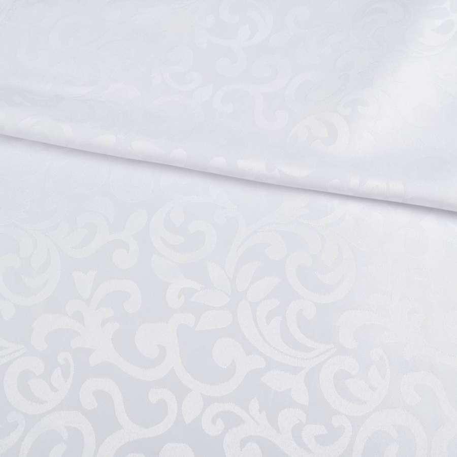 Жаккард скатертный растительный вензель белый, ш.320