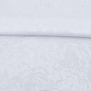 Жаккард скатертный розы крупные белый, ш.320