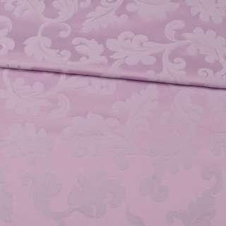 Жаккард скатертный листья с завитками сиреневый, ш.330