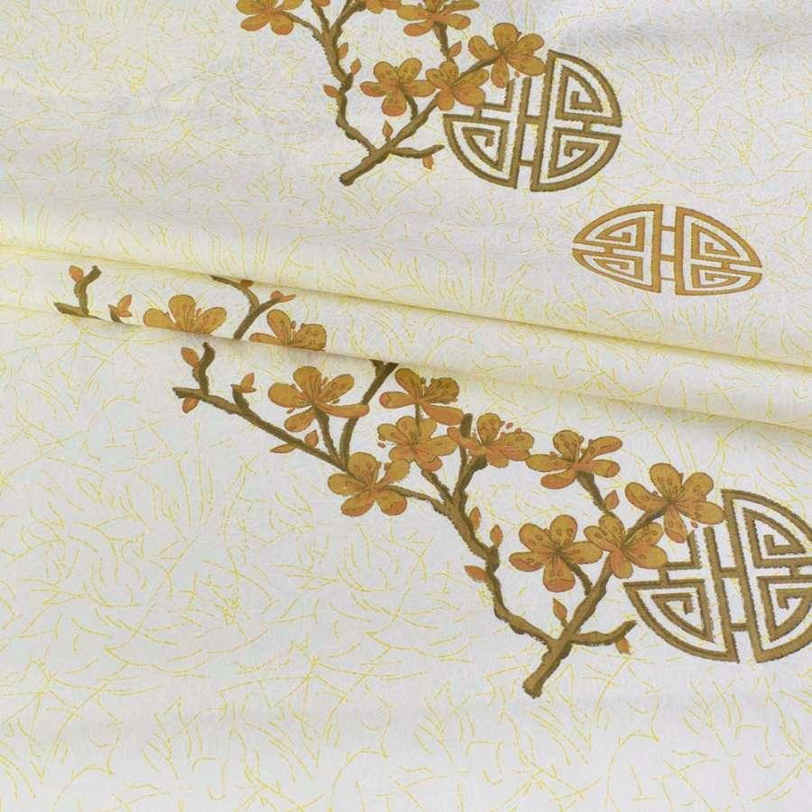 бязь набив. кремовая с бело-желтым серпантином, коричневыми ветками, ш.220