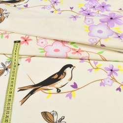 бязь набивн. кремовая с птицами и цветущ. веточками ш.220