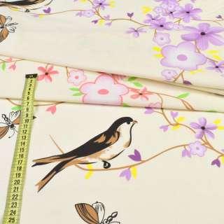 бязь набивна. кремова з птахами і квітучою. гілочками ш.220