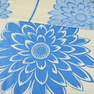 Бязь набивна жовта в світло-сині квіти ш.220