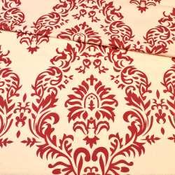Бязь набивная кремовая в бордовый цветочный узор ш.220