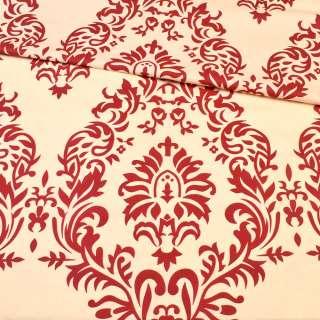 Бязь набивна кремова в бордовий квітковий візерунок ш.220