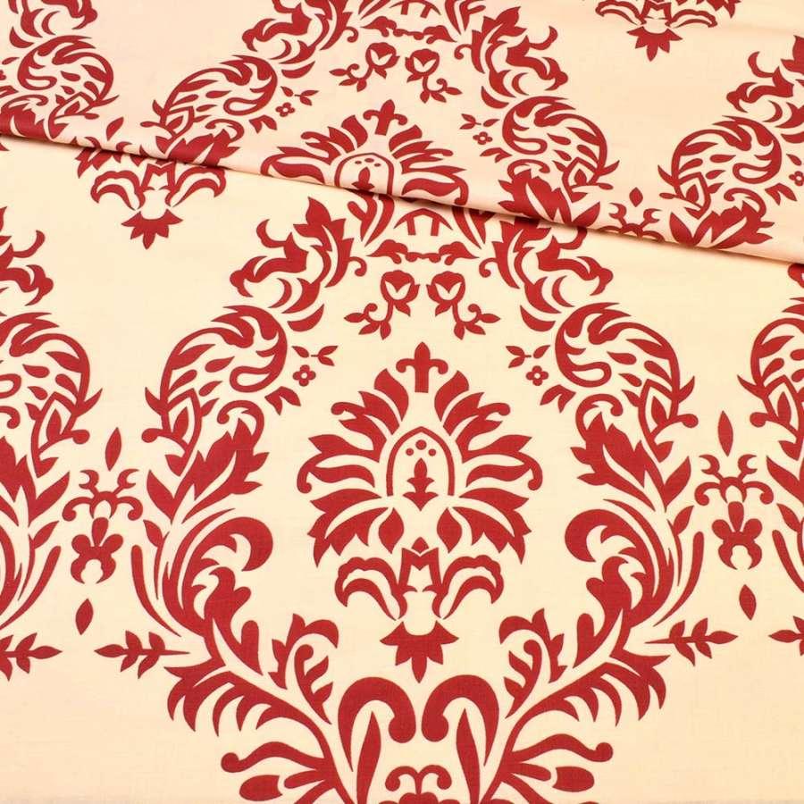 бязь набив. кремовая в бордовый цветочный узор ш.220
