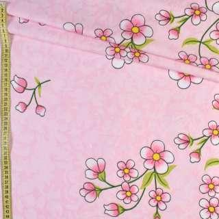Бязь набив. розовая в цветы, ш.220