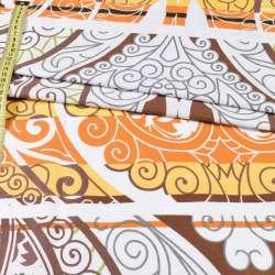 Бязь набив. белая в желто-оранжево-серый вензель, ш.220