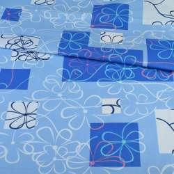 бязь набив. сине-голубые квадраты с цветами, ш.220