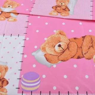 Бязь набив. бело-розовые квадраты, спящий мишка, ш.220
