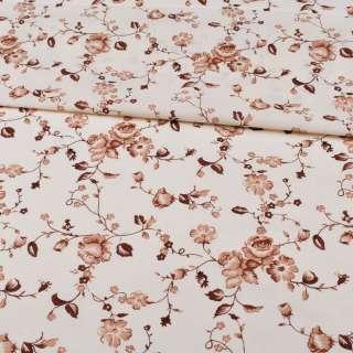 бязь набив бежевая, коричневые цветы, ш.220
