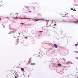 Бязь набивная белая в сиреневые цветы ш.220