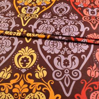 Бязь набивна коричнева з оранжево-жовтим малюнком ш.220