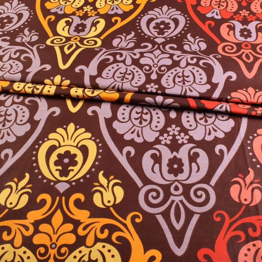 бязь набив. коричневая с оранжево-желтым рисунком ш.220