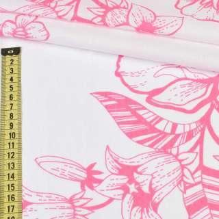 Бязь набивна біла в рожеві квіти (бавовна 100%), ш.220