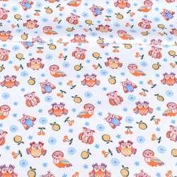 ситец набивной белый, оранжевые совы, ш.95