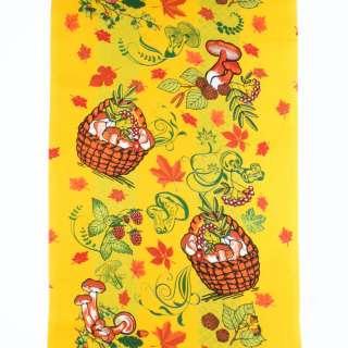 Ткань полотенечная вафельная набивная желтая, листья, грибы, ш.40
