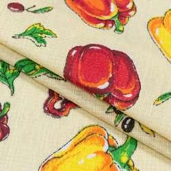 ткань полот. вафельн. набивн. кремовая с овощами, ш.40