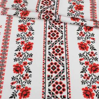 ткань полот. вафельн. набивн. белая в красный орнамент, ш.45