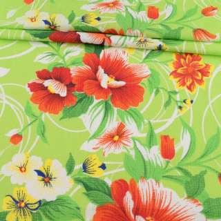 Ткань полотенечная вафельная набивная салатовая в оранжевые цветы, ш.45
