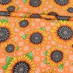 Ткань полотенечная вафельная набивная оранжевая в подсолнухи, ш.45