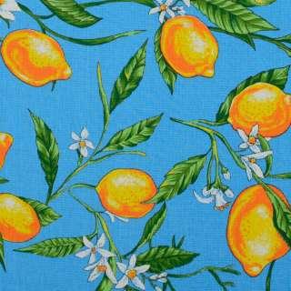 Ткань полотенечная вафельная набивная голубая, желтые лимоны ш.40