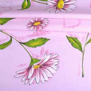 Бязь набивная розовая с ромашками и сердцами ш.220