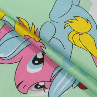 Бязь набивши. салатова, блакитні, рожеві поні, ш.220