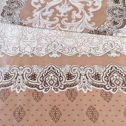 Бязь набивная белая с 2-ст. коричневым купоном и орнаментом ш.220