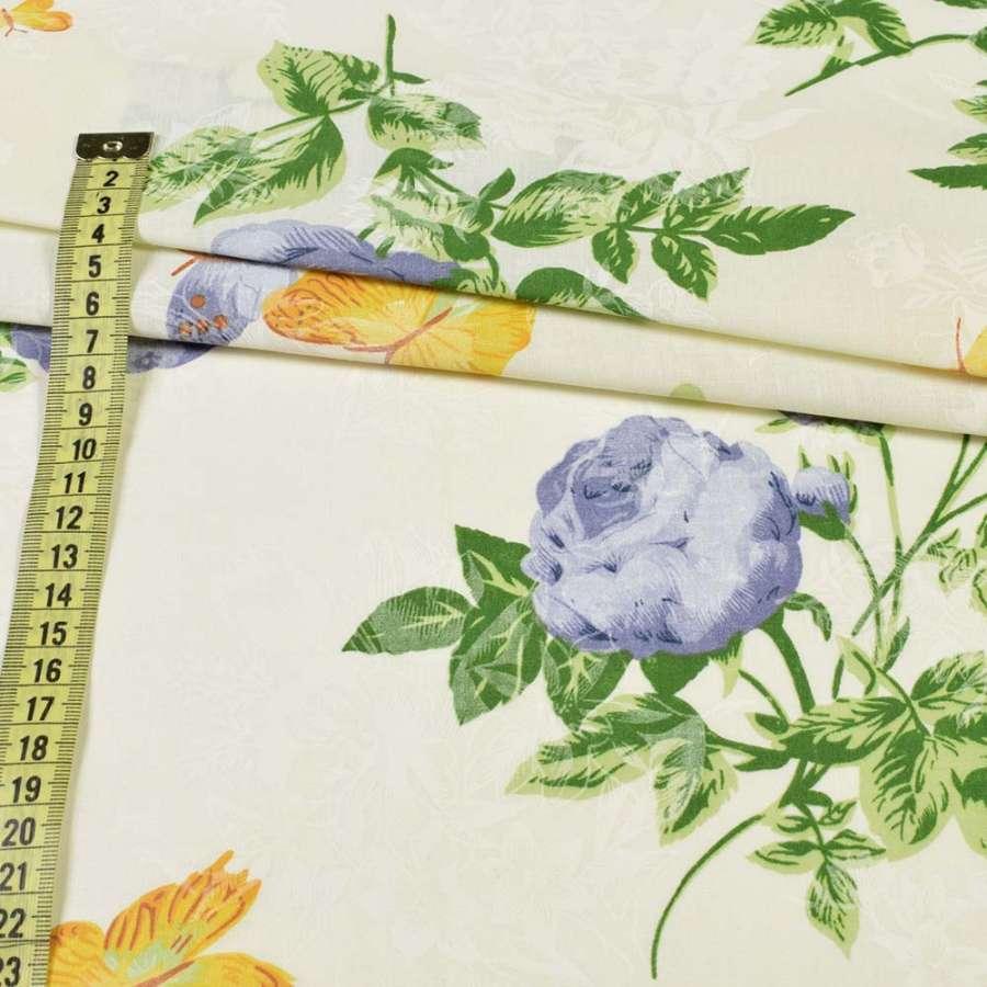 Бязь набив. кремовая, фиолетовые розы и желтые бабочки, ш.220