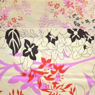Бязь кремова з рожево-червоними квітами ш.220