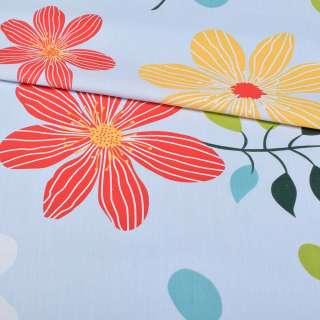 Бязь набивна блакитна з різнокольоровими квітами, ш.220
